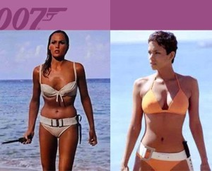 Ursula and Halle as Bond Girls